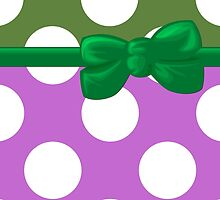 Polka Dots, Ribbon and Bow, Purple White Green by sitnica