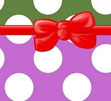 Polka Dots, Ribbon and Bow, Purple White Green Red by sitnica