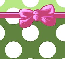Polka Dots, Ribbon and Bow, White Green Pink by sitnica