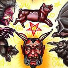 devil, pig, bat, black cat, witch tattoo flash