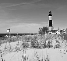 Big Sable Lighthouse in Black and White by Roger  Swieringa