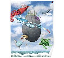 Floating Castle and Flying Fish Poster
