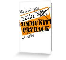 community BLOWBACK. Greeting Card