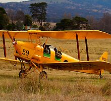 Beauty Comes With  Age, biplane De Havilland Tiger Moth  Canberra Australia by Kym Bradley