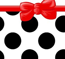 Polka Dots, Ribbon and Bow, White Black Red  by sitnica