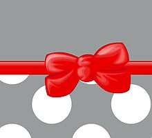 Ribbon, Bow, Polka Dots - White Gray Red by sitnica