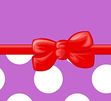 Polka Dots, Ribbon and Bow, Purple White Red by sitnica