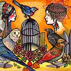birdcage, birds, and ladies art, tattoo flash print: old school tattoo art by resonanteye