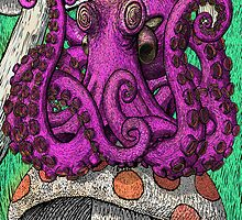 Octopus on Mushrooms by Octomanart