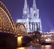 Hohenzollern Brücke and Cologne Cathedral by Night by Kerry Dunstone