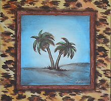 Palm Trees with Faux Frame by Agata Lindquist