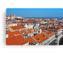 Baixa City Center of Lisbon Panoramic View Canvas Print