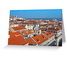 Baixa City Center of Lisbon Panoramic View Greeting Card