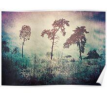 3 Trees - Vintage Grunge Landscape Art Poster