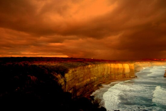 Sunset glows on the Limestone Cliffs  by Chris Chalk