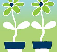 Flower pots in blue white and green by kreativekate
