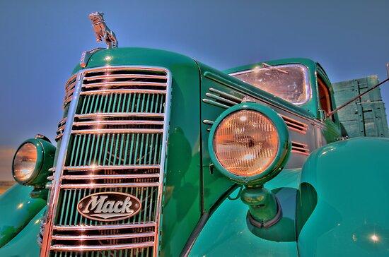 Green Mack Truck by pdsfotoart