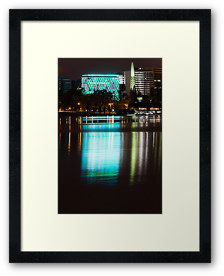 Perth at Night - Council House and Bell Tower -  Green by Sandra Chung