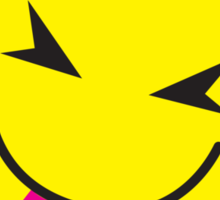 Pinky smiley face with tongue poking out CHEEKY! Sticker