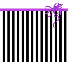 Retro Stripes, Ribbon and Bow, White Black Purple by sitnica