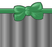 Retro Stripes, Ribbon and Bow, White Black Green by sitnica