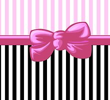 Retro Stripes, Ribbon and Bow, White Pink Black by sitnica