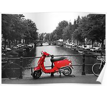 Red Scooter Amsterdam Poster