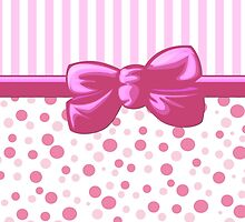 Stripes Dots Spots, Ribbon and Bow, Pink White  by sitnica