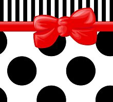 Stripes Polka Dots, Ribbon and Bow, Black White Red by sitnica