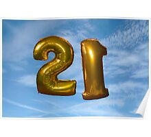 gold helium filled 21st birthday balloons Poster