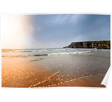 surfers near cliffs at sunset Poster