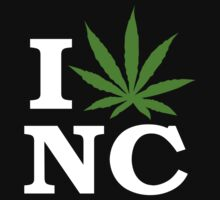 I Love North Carolina Marijuana Cannabis Weed T-Shirt        by MarijuanaTshirt