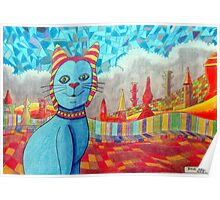 389 - FAIENCE CAT - 02 - DAVE EDWARDS - COLOURED PENCILS - 2013 Poster