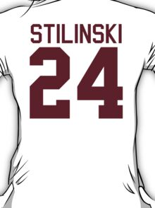 Stiles Stilinski's Jersey - maroon/red text T-Shirt