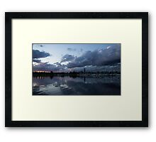 Reflecting on Boats and Clouds Framed Print