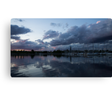Reflecting on Boats and Clouds Canvas Print