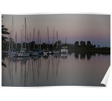 Downtown with Yachts Poster