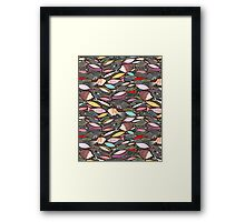 bright autumn pattern of fish and leaves Framed Print