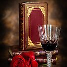 Red Wine with Rose by mlphoto