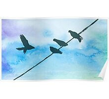 Doves on wire Poster