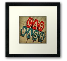 Retro Car Wash Sign Framed Print