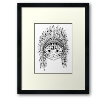 Cat with Headdress - white Framed Print