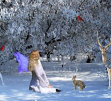 Yule Winter Faerie and Animals by imphavok