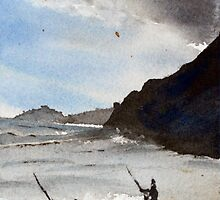 Fishermen at Whiskey Bay in watercolour by Jenny Barnes