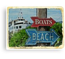 Boats and Beach No. 1 nautical art beach themed bathroom art Canvas Print