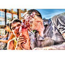 Two Zombies Eat a Foot Photographic Print