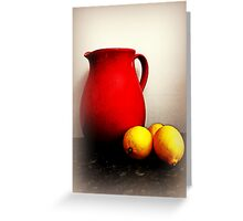 Jug And Lemons On A kitchen Bench Greeting Card