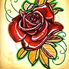 red rose tattoo art