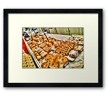 Waffles and French Pastries in Brussels, Belgium Framed Print