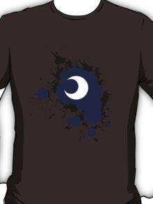 Lunar Splat (black paint, white background) T-Shirt
